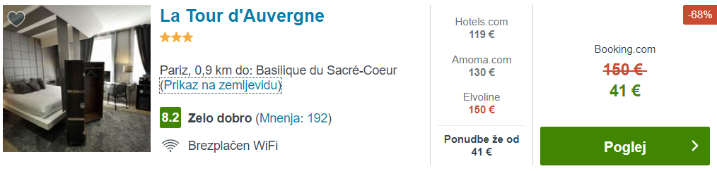 Pariz za le 26 EUR - primer namestitve