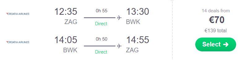 Brač - letalska karta - Zagreb - 70 EUR