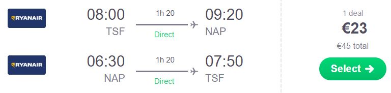 Neapelj - letalska karta 23 eur