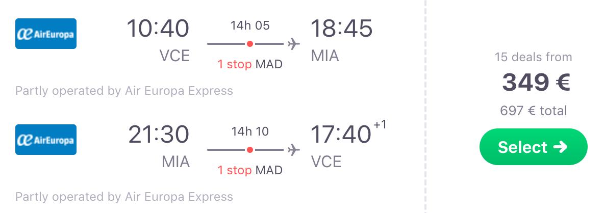 Letalska karta - Benetke - Miami