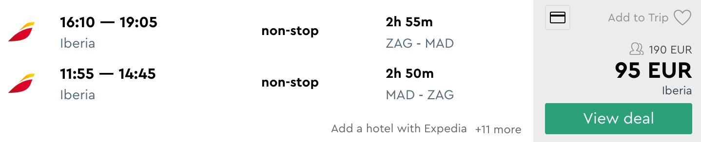 Zagreb - Madrid - letalska karta
